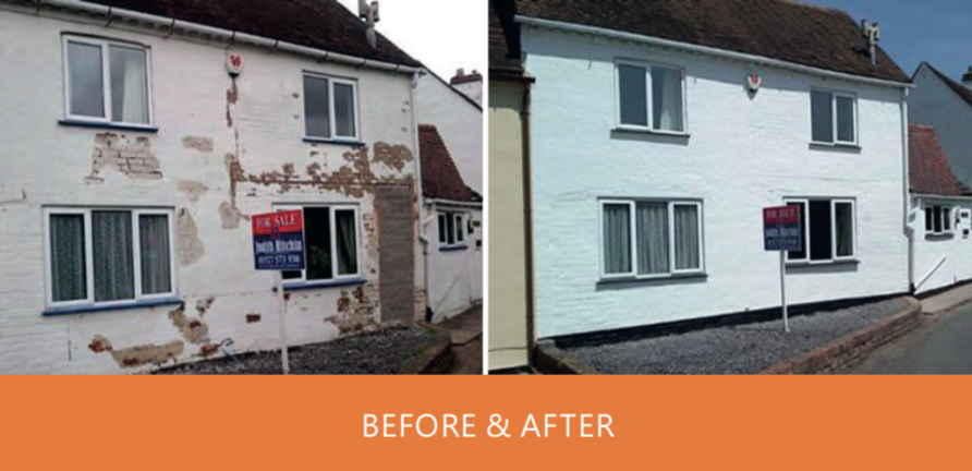 Old house painting and decorating to restore its condition for sale on the market